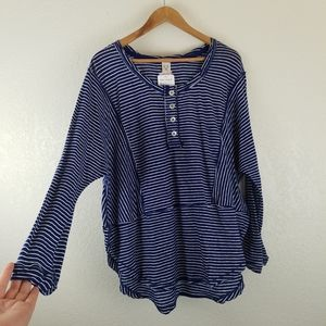 Free People Striped Round Hem Button Down Top A2
